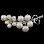 Pearl ujërave të ëmbla karficë, Pearl kulturuar ujërave të ëmbla, with Tunxh, Gjethe, e bardhë, 51x22x12mm,  PC