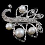 Pearl ujërave të ëmbla karficë, Pearl kulturuar ujërave të ëmbla, with Tunxh, Lule, e bardhë, 43x40x18mm,  PC
