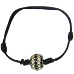 Tunxh Shamballa Bracelets, with Diamant i rremë & Tunxh, Shape Tjera, me diamant i rremë, e zezë, , nikel çojë \x26amp; kadmium falas, 11mm, :7.5Inç,  7.5Inç,