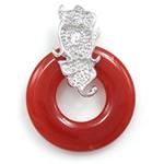 Pendants Red agat, Petull e ëmbël në formë gjevreku, 23x30x6mm, : 3x5mm, 5PC/Qese,  Qese