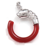 Pendants Red agat, Petull e ëmbël në formë gjevreku, 22.50x27x5mm, : 4x5mm, 5PC/Qese,  Qese