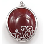 Pendants Red agat, Oval, 26x33x10.50mm, : 3x5mm, 5PC/Qese,  Qese
