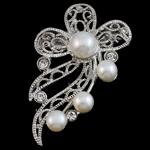Pearl ujërave të ëmbla karficë, Pearl kulturuar ujërave të ëmbla, with Tunxh, Lule, e bardhë, 40x53x18mm,  PC