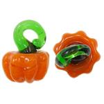 Bimët Pendants Lampwork, Perime, portokall, 16x12mm, : 3mm, 200PC/Qese,  Qese