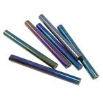 Rainbow Seed Glass Beads, Tub, 4x35mm, : 1mm,  Qese