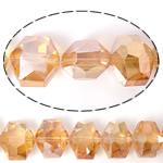 Imitim Swarovski Crystal Beads, Kristal, Gjashtëkëndësh, asnjë, imitim kristal Swarovski & makinë faceted, Champagne Gold, 14x12x10mm, : 1mm, 100PC/Shumë,  Shumë