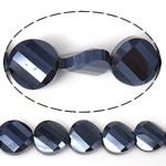 Imitim Swarovski Crystal Beads, Kristal, Round Flat, asnjë, imitim kristal Swarovski & makinë faceted, Cobalt Blue, 14x14x7mm, : 1mm, 100PC/Shumë,  Shumë