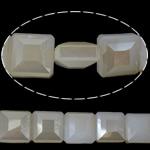 Imitim Swarovski Crystal Beads, Kristal, Katror, asnjë, imitim kristal Swarovski & makinë faceted, White alabaster, 14x14x8mm, : 1mm, 100PC/Shumë,  Shumë