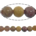Dotter Stein Perlen, rund, natürlich, gelb, 4mm, Länge:ca. 16 ZollInch, 10SträngeStrang/Menge, ca. 95PCs/Strang, verkauft von Menge