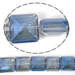 Imitim Swarovski Crystal Beads, Kristal, Katror, asnjë, imitim kristal Swarovski & makinë faceted, Lt Sapphire, 14x14x8mm, : 1mm, 100PC/Shumë,  Shumë