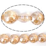 Imitim Swarovski Crystal Beads, Kristal, Round Flat, asnjë, imitim kristal Swarovski & makinë faceted, Champagne Gold, 14x14x9mm, : 1mm, 100PC/Shumë,  Shumë