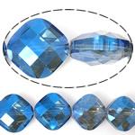 Imitim Swarovski Crystal Beads, Kristal, Katror, asnjë, imitim kristal Swarovski & makinë faceted, Safir, 15x15x9mm, : 1mm, 100PC/Shumë,  Shumë