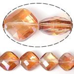 Imitim Swarovski Crystal Beads, Kristal, Katror, asnjë, imitim kristal Swarovski & makinë faceted, Zjarri Opal, 15x15x9mm, : 1mm, 100PC/Shumë,  Shumë
