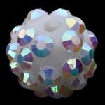Beads diamant i rremë Rrëshirë, Rrëshirë diamant i rremë, Daulle, asnjë, e bardhë, 10x12mm, : 2mm, 100PC/Qese,  Qese