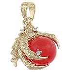 Red Jade, with Tunxh, Kafshë, me diamant i rremë, 27x35x20mm, : 7x10mm, 10PC/Qese,  Qese
