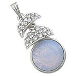 Deti Pendants opal, Deti Opal, with Alloy zink, Shape Tjera, me diamant i rremë, 17x34x7mm, : 3x6mm, 10PC/Qese,  Qese