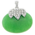 Malajzia Jade, with Alloy zink, Oval, me diamant i rremë, 40x37x12mm, : 4x7mm, 10PC/Qese,  Qese