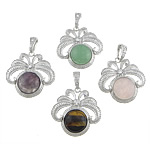 Pendants përziera gur i çmuar, with Tunxh, Shape Tjera, 42x41x8mm, : 6x12mm, 10PC/Qese,  Qese