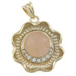 Pendants Natyrore kuarc, Rose kuarc, Lule, me diamant i rremë, 34x31x9mm, : 6x7mm, 10PC/Qese,  Qese