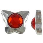 Beads praruar akrilik, Kafshë, Ngjyra argjend praruar, me diamant i rremë, asnjë, 13x16x6.50mm, : 2mm, 100PC/Qese,  Qese