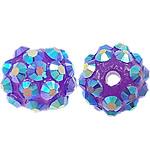 Beads diamant i rremë Rrëshirë, Rrëshirë diamant i rremë, Daulle, asnjë, vjollcë, 10x12mm, : 2mm, 100PC/Qese,  Qese