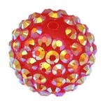 Beads diamant i rremë Rrëshirë, Rrëshirë diamant i rremë, Daulle, asnjë, i kuq, 18x20mm, : 2mm, 100PC/Qese,  Qese