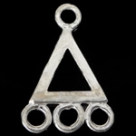 925 Sterling Silver Mbulim Gjuhësh, Trekëndësh, argjend praruar vërtetë, 1/3 loop, asnjë, 8.50x13x0.70mm, : 1.2mm, 10PC/Qese,  Qese