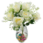 Lule artificiale Kryesore Dekor, Mëndafsh, Shape Tjera, e bardhë, 490x330mm, 10PC/Qese,  Qese