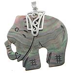 Pendants Natyrore White Shell, Black Shell, Elefant, i praruar, ngjyrë platin, 49x48x5mm, : 4x7mm, 5PC/Shumë,  Shumë