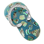Pendants Shell, Predhë, Këpucët, i praruar, ngjyrë platin, 26x49x10mm, 10PC/Shumë,  Shumë