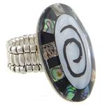 Shell Finger unaza, Predhë, Oval Flat, i praruar, ngjyrë platin, 26x37mm, 21mm, :8, 10PC/Shumë,  Shumë