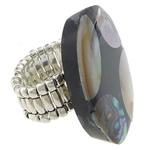 Shell Finger unaza, Predhë, with Rrëshirë & Tunxh, Oval Flat, asnjë, asnjë, ngjyrë platin, 25x35mm, 22mm, :9, 10PC/Shumë,  Shumë