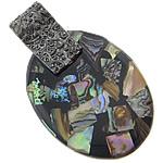 Pendants Shell, Predhë, Oval, i praruar, ngjyrë platin, 30x49x7mm, 10PC/Shumë,  Shumë