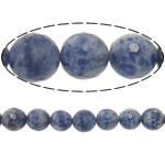 Agat Beads, Spot Blue, Round, asnjë, makinë faceted, 12mm, : 2mm, :15Inç, 5Fillesat/Shumë,  Shumë