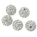 Diamant i rremë balta Beads hapë, Argjilë, Round, asnjë, me diamant i rremë, Kristal, 8mm, PP12, : 2mm, 100PC/Shumë,  Shumë