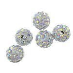 Diamant i rremë balta Beads hapë, Argjilë, Round, asnjë, me diamant i rremë, 10mm, PP15, : 2mm, 100PC/Shumë,  Shumë