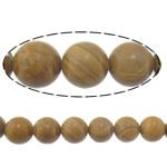 Holzmaserung Stein Perlen, Grain Stein, rund, natürlich, 12mm, Bohrung:ca. 1.2mm, Länge:ca. 15 ZollInch, 10SträngeStrang/Menge, ca. 32PCs/Strang, verkauft von Menge