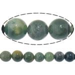 Natürliche Moos Achat Perlen, rund, 8mm, Bohrung:ca. 1mm, Länge:ca. 15.5 ZollInch, 10SträngeStrang/Menge, ca. 49PCs/Strang, verkauft von Menge