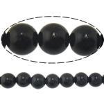 Schwarze Stein Perlen, schwarzer Stein, rund, natürlich, verschiedene Größen vorhanden, Bohrung:ca. 1mm, Länge:ca. 15 ZollInch, verkauft von Menge
