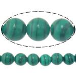 Beads malakit, Round, natyror, 8mm, : 1.2mm, :15.8Inç, 10Fillesat/Shumë,  Shumë