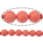 Beads Natyrore Coral, Coral sintetike, Round, sintetik, i kuq, 12mm, : 1.2mm, :15Inç, 10Fillesat/Shumë,  Shumë