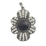 Pendants Zi agat, Black agat, Lule, me diamant i rremë, 36x46x7mm, : 4x6mm, 10PC/Shumë,  Shumë