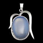 Deti Pendants opal, Tunxh, Oval, ngjyrë platin praruar, dritë blu, 26x34x7mm, : 4x6mm, 10PC/Shumë,  Shumë