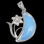 Deti Pendants opal, Deti Opal, with Tunxh, Shape Tjera, ngjyrë platin praruar, me diamant i rremë, dritë blu, 29x37x7mm, : 4x6mm, 10PC/Shumë,  Shumë