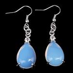 Një palë vathë gur i çmuar, Deti Opal, Lot, ngjyrë platin praruar, me diamant i rremë, asnjë, 13x50x6mm, :1.96Inç, 10Çiftet/Shumë,  Shumë