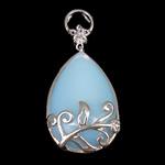 Deti Pendants opal, Deti Opal, with Tunxh, Lot, ngjyrë platin praruar, dritë blu, 24.50x37x10mm, : 3x4mm, 10PC/Shumë,  Shumë