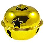 Hekuri Pendants Bell, pikturë, të verdhë të artë, , nikel çojë \x26amp; kadmium falas, 26x31.5mm, : 7x4mm, 100PC/Qese,  Qese