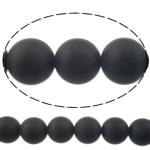 Natürliche schwarze Achat Perlen, Schwarzer Achat, rund, satiniert, 8mm, Bohrung:ca. 0.8-1mm, Länge:15 ZollInch, 10SträngeStrang/Menge, verkauft von Menge