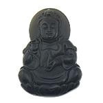 Pendants gur i çmuar bizhuteri, Obsidian Black, Buda, Gdhendur, asnjë, 32x49.50x8.50mm, : 1mm, 5PC/Qese,  Qese