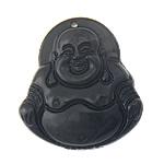 Pendants gur i çmuar bizhuteri, Obsidian Black, Buda, Gdhendur, asnjë, 30x32x11mm, : 1.5mm, 10PC/Qese,  Qese